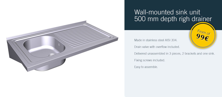 Wall-mounted sink unit 500 mm depth righ drainer